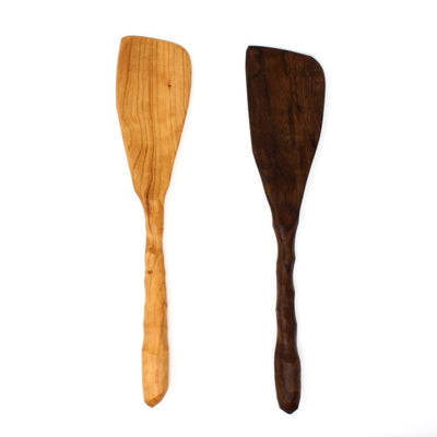 A pair of charming, rustic, handmade wood spatulas made from sustainably harvested urban wood.