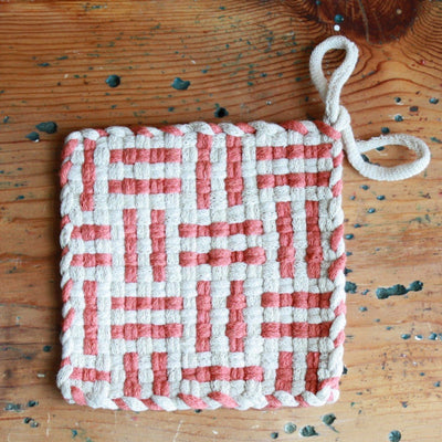 A lovely cotton handwoven potholders in spice color.