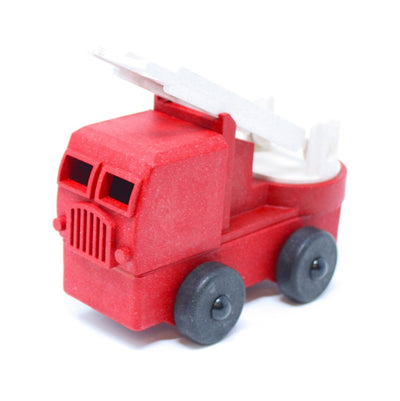 Red toy fire truck made out of saw dust and recycled plastic that is a STEM toy that develops problem solving