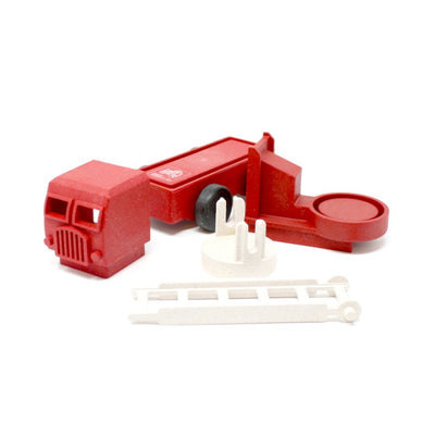 Deconstructed view of red toy fire truck made out of saw dust and recycled plastic that is a STEM toy that develops problem solving