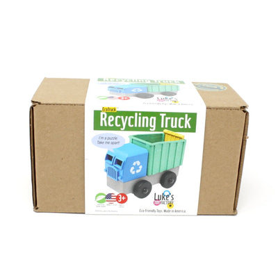 Package view of blue toy recycling truck truck made out of saw dust and recycled plastic that is a STEM toy that develops problem solving