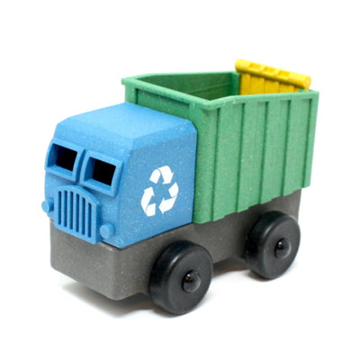 Blue toy recycling truck truck made out of saw dust and recycled plastic that is a STEM toy that develops problem solving