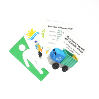 View of materials included with blue toy recycling truck truck made out of saw dust and recycled plastic is a STEM toy that develops problem solving
