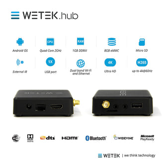 WETEK HUB WIRELESS ANDROID & LIBREELEC TV BOX WITH BLUETOOTH & 4K UHD