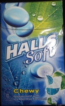 Thai Candy Halls Soft Chewy Peppermint with ice Menthol flavored