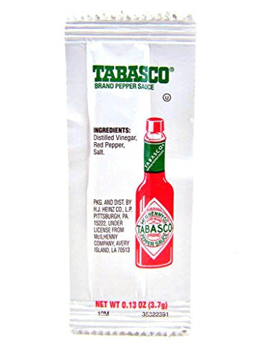 Tabasco Pepper Sauce Single Serve Packages 0.13-Ounce (Pack of 200)