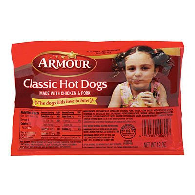 ARMOUR FRANKS HOT DOGS CLASSIC 12 OZ PACK OF 3