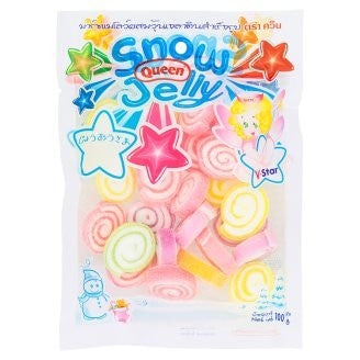 Queen Snow Jelly Marshmallow Gelatin Rainbow Roll Fruity Flavour 100 g. By Thaienjoy (Pack of 3)