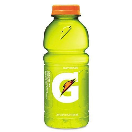 GATORADE 28681 Sports Drink, Lemon-Lime, 20oz Plastic Bottles, 24/Carton