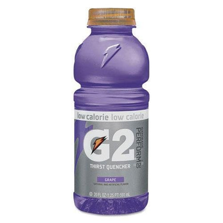 GATORADE 4060 G2 Perform 02 Low-Calorie Thirst Quencher, Grape, 20 oz Bottle, 24/Carton