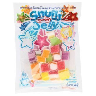 Queen Snow Jelly Marshmallow Gelatin Rainbow Cube Fruity Flavour 100 g. By Thaienjoy (Pack of 3)