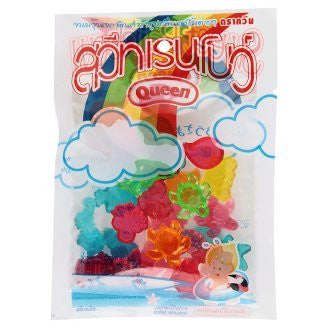 Queen Sweet Rainbow Fruit Flavour Assorted Artificial Gelatin 55 g. By Thaienjoy (Pack of 3)