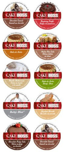 10 Cup Cake Boss® Coffee Sampler! New Flavors! Chocolate Cannoli, Italian Rum Cake, Raspberry Truffle, Vanilla Buttercake++