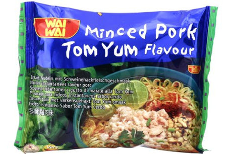 Wai Wai Instant Noodle (Minced Pork Tom Yum Flavour) - 1.93oz (Pack of 10)