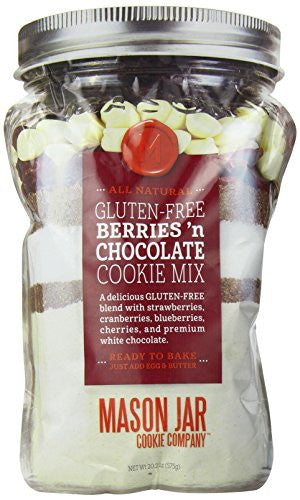 The Mason Jar Cookie Company Gluten Free Berries and Chocolate Cookie Mix in a Pouch, 20.5 Ounce
