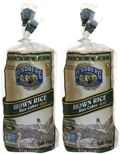 Lundberg Eco-Farmed Brown Rice Cakes, Salt Free, 8.5 oz, 2 pk