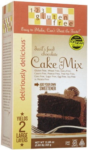 123 Gluten Free Cake Mix, Chocolate Devils Food, 12.88 oz Boxes