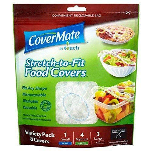 CoverMate Stretch To Fit Reusable Food Covers 8 Variety Pack (Pack of 8)