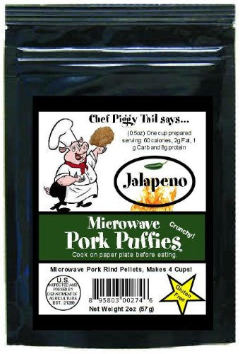 Chef Piggy Tail Microwave Pork Puffies Pork Rinds, Jalapeno, 2 Ounce