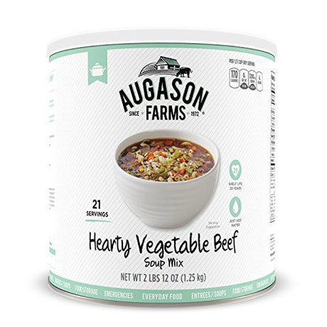Augason Farms Hearty Vegetable Beef Soup Mix #10 Can, 44 oz