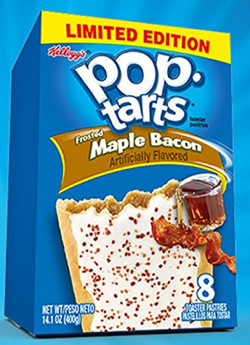 Kellogg's, Pop-Tarts, Limited Edition, Frosted Maple Bacon Toaster Pastries, 8 Count, 14.1oz Box (Pack of 6)