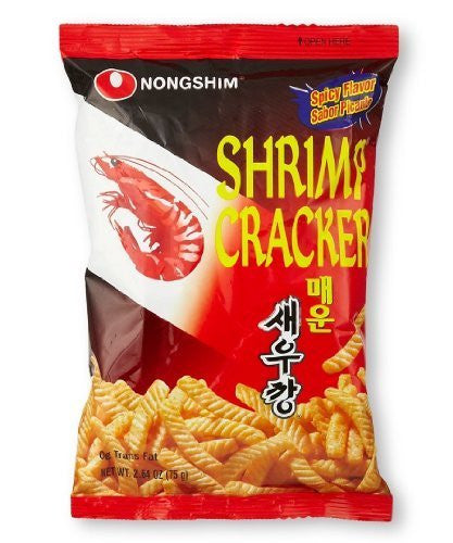 Nongshim Shrimp Crispy Stick Crackers Hot & Spicy 75g. X 1 Bag