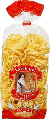 Tagliatelle Pasta 5 mm by Valfleuri with 7 Fresh Eggs Free Range per Kilo of Durum Wheat 8.8 Oz x 6 packs