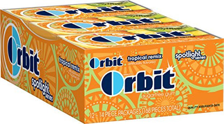Orbit Tropical Remix Sugarfree Gum, (Pack of 12)