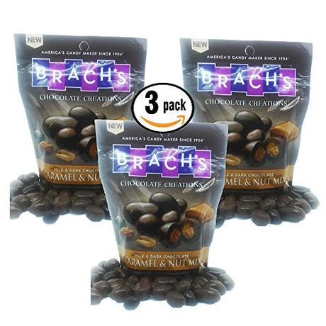 Pack of 3 - BRACHs Milk and Dark Chocolate Caramel and Nut Mix, 15 oz resealable bag