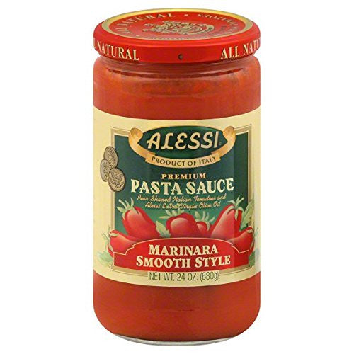 Alessi Autentico Premium Marinara Smooth Style Pasta Sauce 24 OZ (Pack of 5) + (6 Pack of M&M Milk Chocolate 1.69oz)