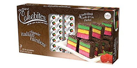 The Original Cakebites Classic Italian Rainbow! Four Individual Grab And Go Packs! Delicious!