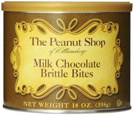 The Peanut Shop of Williamsburg Milk Chocolate Brittle Bites Tin, 14 Ounce (Pack of 12)