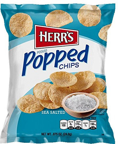 Herr's - ALL NATURAL POPPED CHIPS, Pack of 32 bags