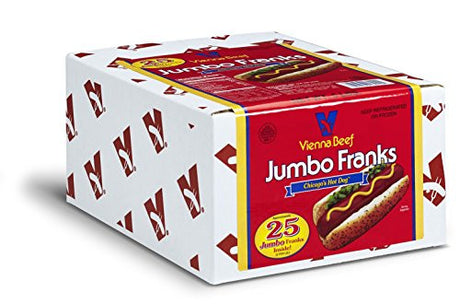 "Vienna Beef Jumbo Skinless Franks 6"" 5:1 5 lbs. 25 count"