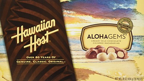 Hawaiian Host The Original chocolate Covered MACADAMIA NUTS BOX 16 OZ (454g)