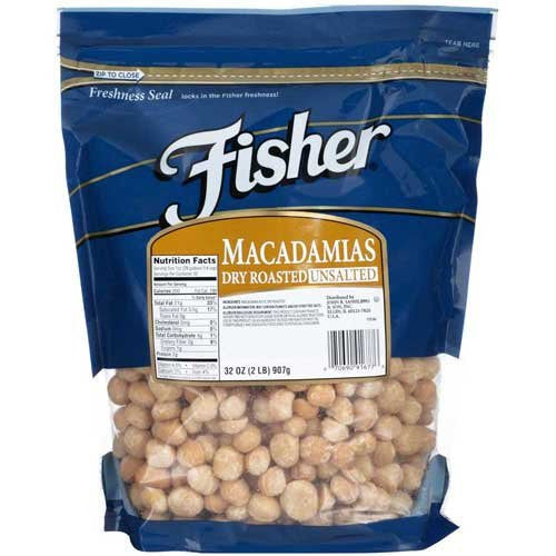 Fisher Dry Roasted Macadamia Nut, 2 Pound -- 3 per case.