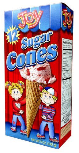 Joy Cone 12-Count SUGAR Ice Cream CONES 5oz (6 Pack)