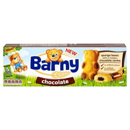Barny Chocolate Kids Sponge Bear Biscuits 5 Packs 30G Case Of 7