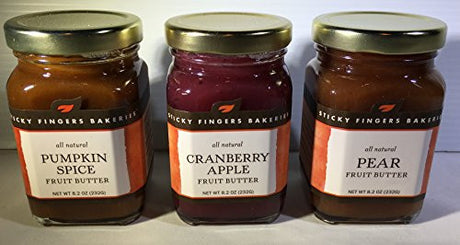 Sticky Fingers All Natural Fruit Butters Pumpkin Spice, Cranberry Apple, & Pear Flavors Pack of 3