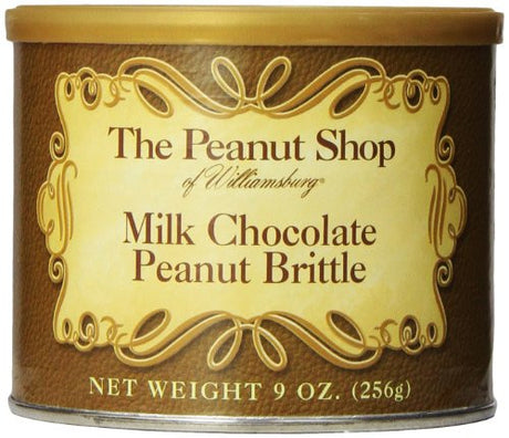 The Peanut Shop of Williamsburg Milk Chocolate Peanut Brittle Tin, 9 Ounce (Pack of 12)