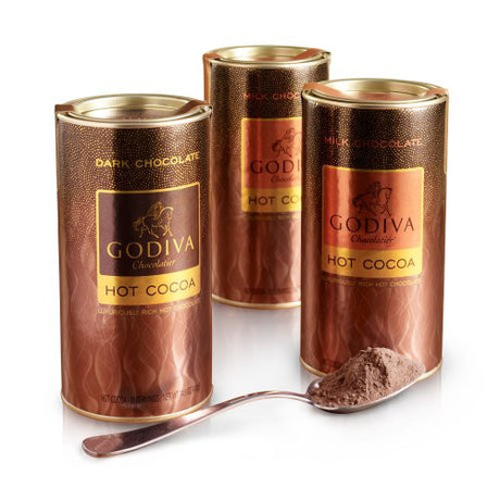 GODIVA Chocolatier Asstd Hot Cocoa Canister, Set of 3, 10 servings each