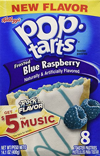 Kelloggs Pop Tarts Frosted Blue Raspberry, 2 Boxes of 8 Pastries