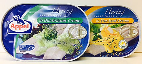 Appel 7.05-Ounce German Herring Fillets Variety Pack of 2 Flavors - in Dill-Krauter-Creme and in Eier-Senf-Creme