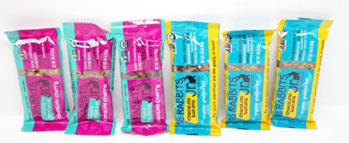 18 Rabbits Jr. Organic Granola Bars 6 (1.05 oz.) Pack - 3 - Chocolate Banana & 3 - Chocolate Cherry