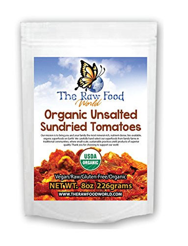 The Raw Food World  Organic Unsalted Sundried Tomatoes, 8 Ounce
