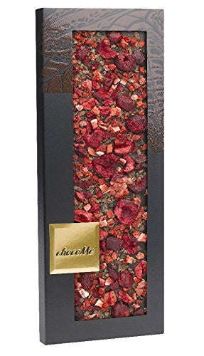 Chocome Fortina Finest Selection Dark Chocolate 65.1% Topping, Ground Cocoa Beans/Sour Cherry Pieces/Strawberry, 3.5 Ounce