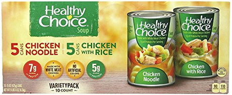 (pack of 2) Healthy Choice Chicken Soup Variety-15 oz, 10 ct each (total 20 CT)