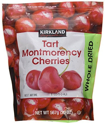 (pack of 3) Kirkland Signature Tart Montmorency Whole Dried Cherries 20 oz Bag (total 60 Oz)