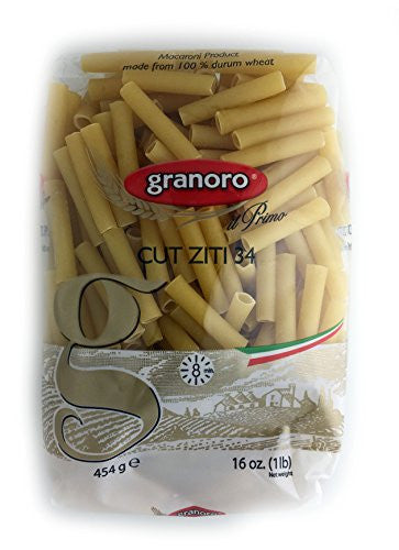 Granoro Cut Ziti 34 Macaroni Pasta 100% Durum Wheat, 16 Ounces