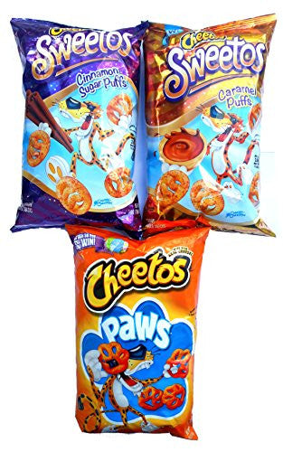 Sweetos Cheetos Cinnamon Puffs, Sweetos Caramel Puffs & Cheetos Paws